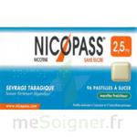 NICOPASS MENTHE FRAICHEUR 2,5 mg SANS SUCRE, pastille édulcorée à l'aspartam et à l'acésulfame potassique à Mérignac