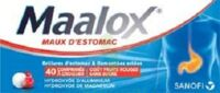 MAALOX MAUX D'ESTOMAC HYDROXYDE D'ALUMINIUM/HYDROXYDE DE MAGNESIUM 400 mg/400 mg SANS SUCRE FRUITS ROUGES, comprimé à croquer édulcoré à la saccharine sodique, au sorbitol et au maltitol à Mérignac